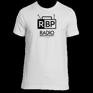 Radio Brennpunkt tshirt in black and white.